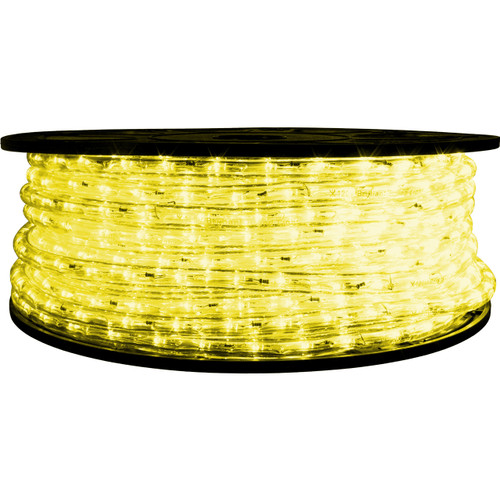 "148' Light Yellow LED rope light spool. 120 Volts. Brilliant Brand. 1/2"" diameter."