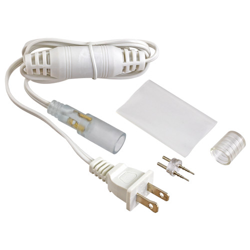 white 120 volt 5ft led rope light power cord kit