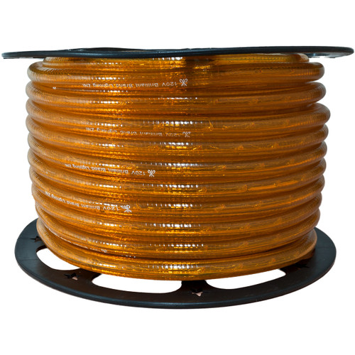 150ft amber incandescent rope light spool - 120 volt - 1/2 inch diameter