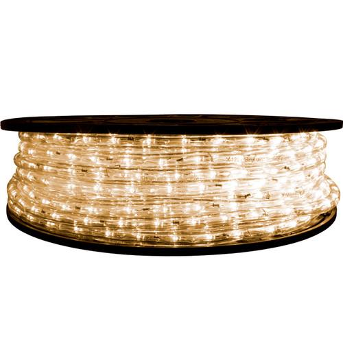 "65' Warm White LED rope light spool. 120 Volts. Brilliant Brand. 1/2"" diameter."