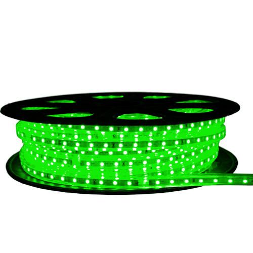 Green LED Strip Light - 120 Volt - High Output (SMD 3528) - 65 Feet