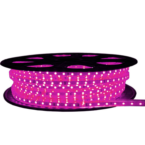 Pink LED Strip Light - 120 Volt - High Output (SMD 3528) - 65 Feet