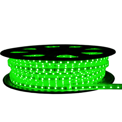 Green LED Strip Light - 120 Volt - High Output (SMD 5050) - 65 Feet