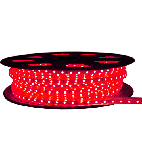 Red LED Strip Light - 120 Volt - High Output (SMD 5050) - 65 Feet