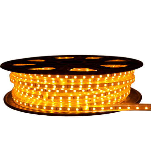 Yellow LED Strip Light - 120 Volt - High Output (SMD 5050) - 65 Feet