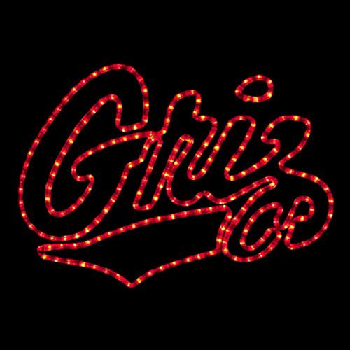 24 inch red led rope light university of montana griz logo motif