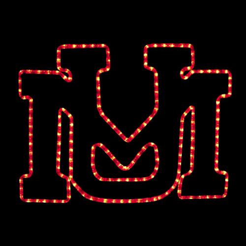 24 inch red led rope light university of montana logo motif