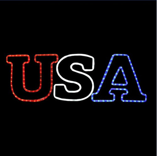 36 Inch Animated Red White and Blue LED Rope Light USA Motif
