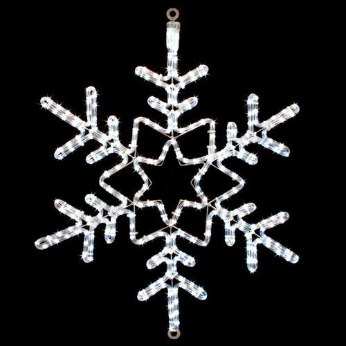 28 Inch Cool White LED Rope Light Snowflake Motif