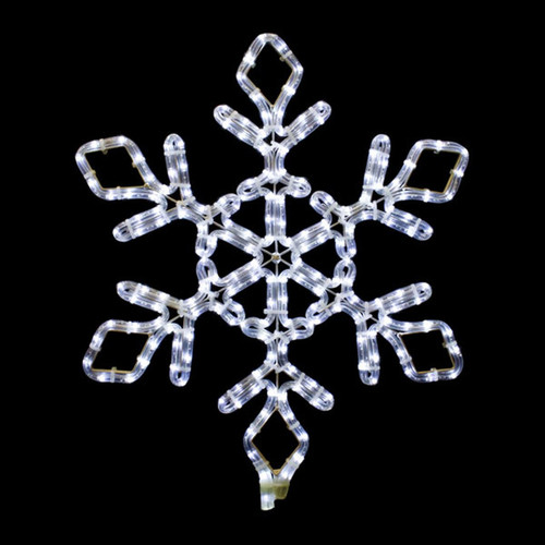 21 Inch Cool White LED Rope Light Snowflake Motif v3