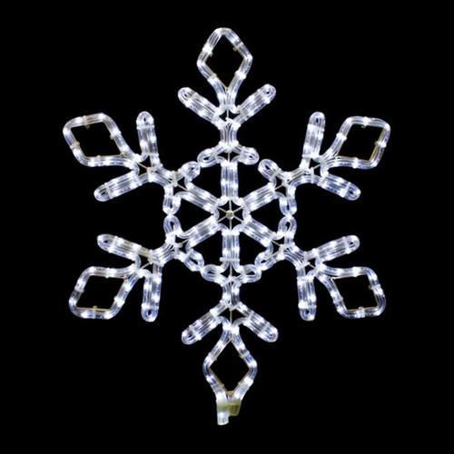 21 Inch Cool White LED Rope Light Snowflake Motif v3