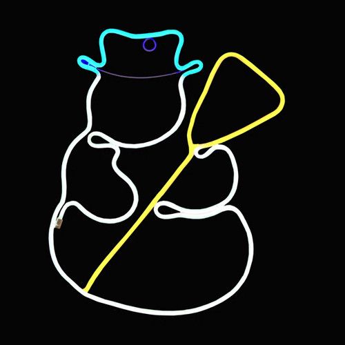 20 Inch Cyan White & Yellow LED Neon Snowman with Broom Motif