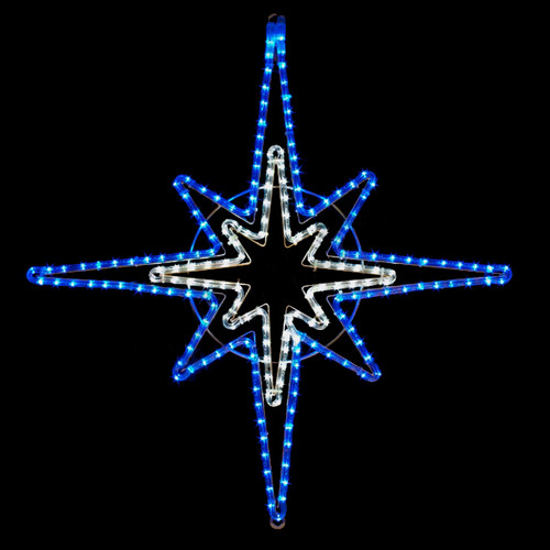 33 Inch Blue & Cool White LED Rope Light Starburst Motif
