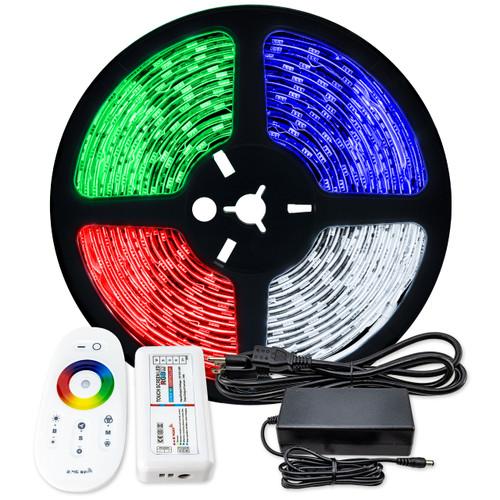 RGBW Color Changing LED Strip Light - 12 Volt - High Output (SMD 5050) - Indoor Use (IP22) - 16.4 Foot Bundle