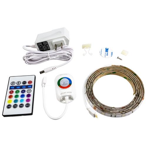 Motion Activated RGB Color Changing LED Strip Light - 12 Volt - High Output (SMD 5050) - Indoor Use - 5 Foot Bundle