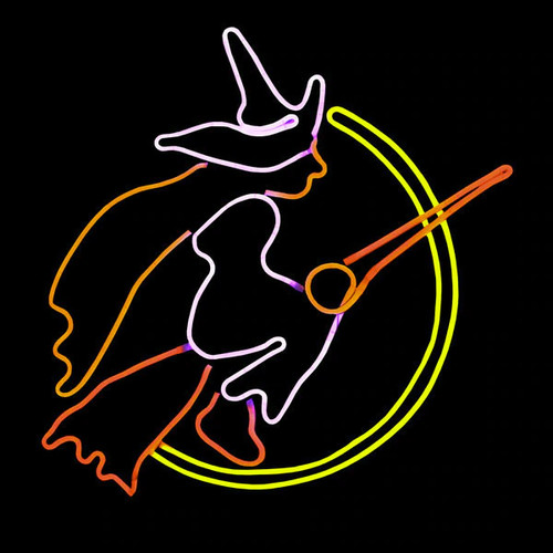 32 Inch Orange Red & Yellow LED Neon Halloween Flying Witch with Broom Motif