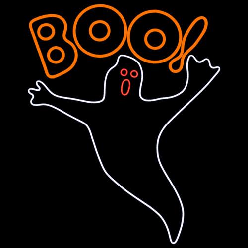 39 Inch Orange Red & White LED Neon Halloween Ghost Motif