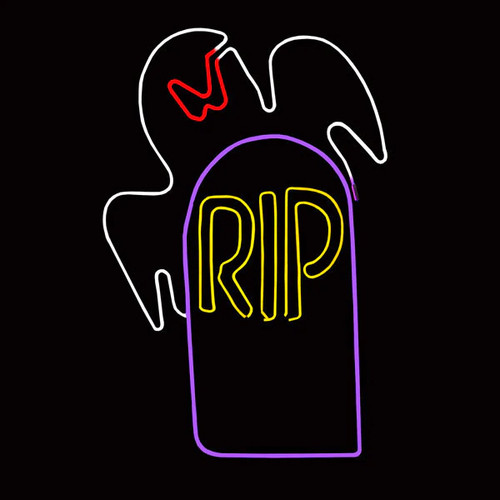 34.5 Inch White Red & Yellow LED Neon Halloween Ghost with RIP Tombstone Motif