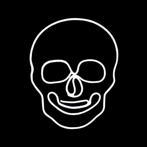 24 Inch White LED Neon Halloween Skull Motif
