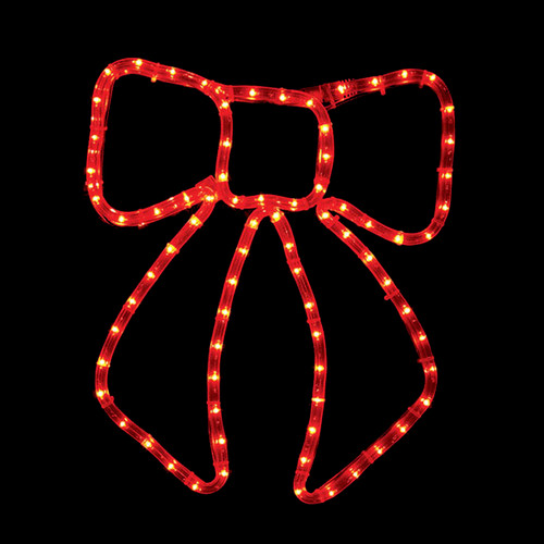 13 Inch Red LED Rope Light Christmas Bow Motif