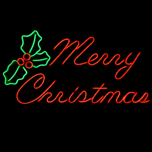 33 Inch Red & Green LED Neon Merry Christmas Motif