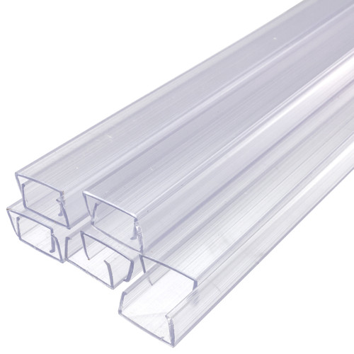 24 Inch x 3/8 Inch Rope Light Mounting Track - Clear PVC Channel (10 Pack) - 12/120 Volt