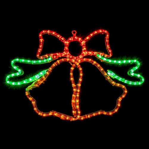 26 Inch Animated Green Red and Yellow LED Rope Light Christmas Ringing Bells Motif - Lighted Silhouette