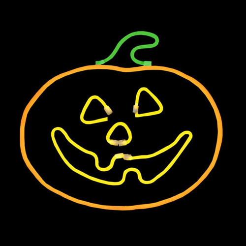 12.5 Inch Orange Yellow & Green LED Neon Halloween Jack-O'-Lantern Pumpkin Motif
