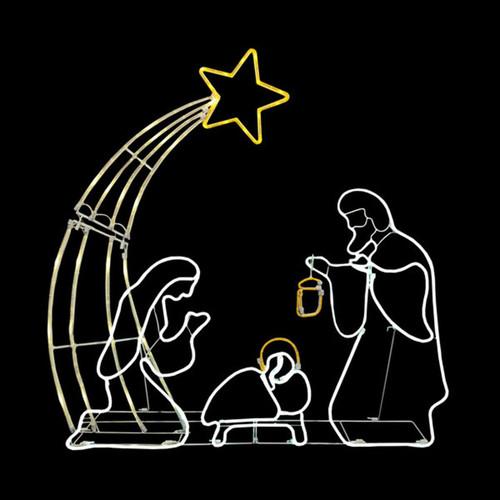 38 Inch Animated White & Yellow LED Rope Light Nativity Scene Motif
