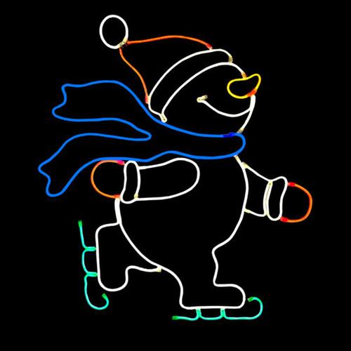 27.5 Inch Multi-Color LED Neon Skating Snowman Motif