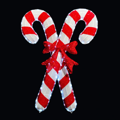 4 Foot Cool White & Red LED Rope Light Double Candy Cane Motif