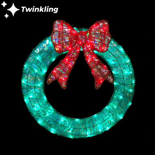 24 Inch 3D LED Green & Red Twinkling Wreath with Bow Motif