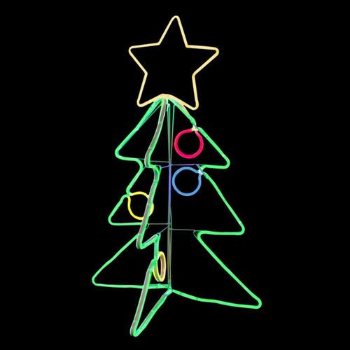 34 Inch 3D LED Neon Multi-Color Christmas Tree Motif