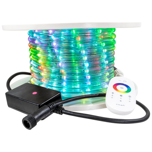 RGB Color Changing Chasing PLC LED Rope Light - 66 Volt - 65 Feet