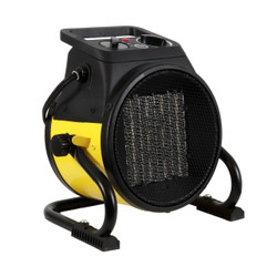 PORTABLE BLACK AND YELLOW HEATER FRONT RIGHT ANGLE