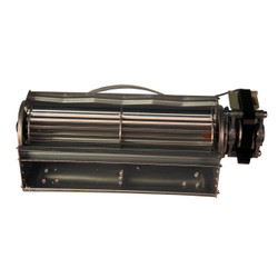 FRONT VIEW OF CAGE STYLE BLOWER USED TO CIRCULATE THE HEATED AIR