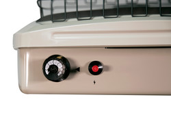 TOP VIEW OF HEATER WITH CONTROL KNOB AND IGNITER BUTTON