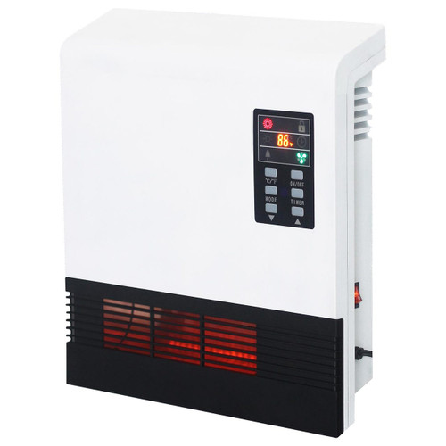 LEFT ANGLE VIEW OF WHITE QUARTZ WALL MOUNT HEATER