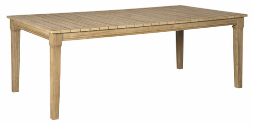 Clare View Beige Rectangular Dining Table w/UMB OPT