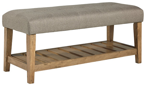 Cabellero Light Beige/Brown Upholstered Accent Bench