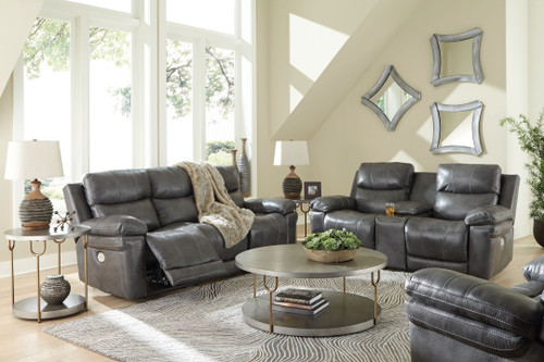Edmar Charcoal 3 Pc. Power Reclining Sofa with Adjustable Headrest, Power Reclining Loveseat with CON/Adjustable Headrest, Power Recliner with Adjustable Headrest