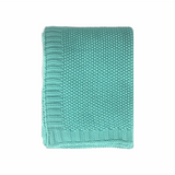 In2Linen Chelsea Knitted Throw Rug | Aqua