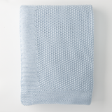 In 2 Linen Seedstitch Knitted Throw Rug | Blue