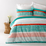In2Linen Saxon Teal DOUBLE Bed Quilt Cover Set