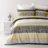 In 2 Linen Saxon Yellow Super King Bed Quilt Cover Set