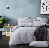 Gioia Casa Corduroy Cotton King Bed Quilt Cover Set - Silver