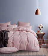 Gioia Casa Corduroy Cotton Super King Bed Quilt Cover Set - Pink