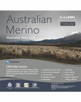 In 2 Linen Australian Merino Wool King Bed Quilt 550GSM | Extra warm