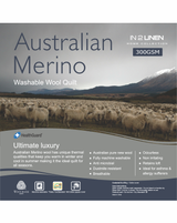 In 2 Linen Double Bed Australian Merino Wool  Quilt 300GSM | All seasons