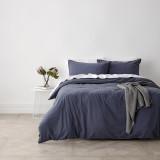Harper Home Vintage Washed Super King Bed Quilt Cover Set |  Blue Stone